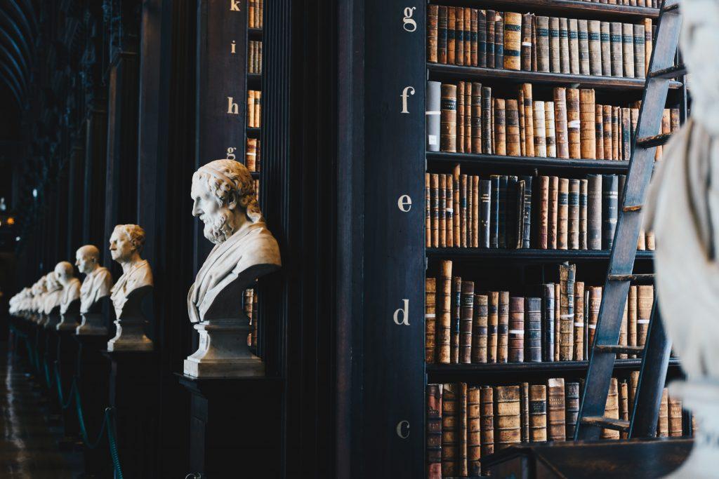 biblioteca con busto de persona